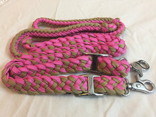 Nylon Braided & Knotted Pink & Beige Roping Reins