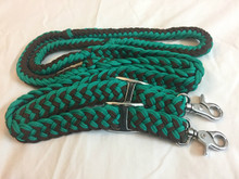 Nylon Braided & Knotted Green & Black Roping Reins
