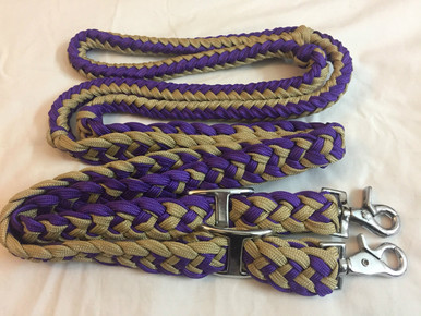 Western Nylon Braided Blue & Beige Roping Reins