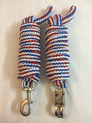 multicolored braided & knotted roping reins