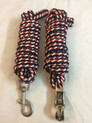 blue/red braided & knotted roping reins