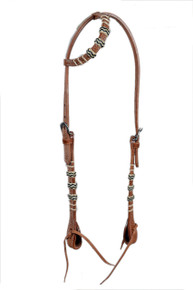 western natural leather rawhide braided headstall