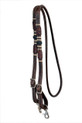western dark oil rawhide braided leather roping reins