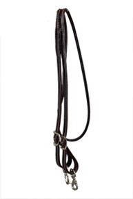 western dark oil leather plain roping reins