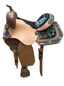 barrel racer rough out fender & jockey gun saddle