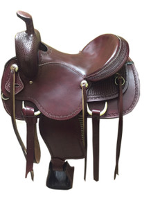 western mahogany roper ranch hand tooled saddle