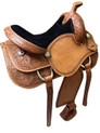 western natural pleasure trail hand tooled & carved saddle