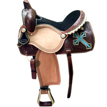 natural barrel racer hand tooled & carved saddle