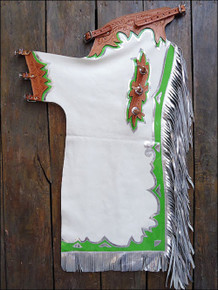 Western White Barrel Rodeo Leather Softy Chaps With Matching Fringes By Aledo Saddlery