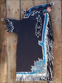 Western Black Barrel Rodeo Leather Softy Chaps With Matching Fringes By Aledo Saddlery