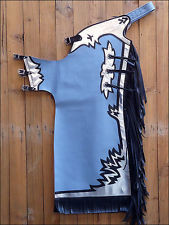 Western Sky Blue Barrel Rodeo Leather Softy Chaps With Matching Fringes By Aledo Saddlery