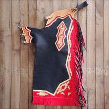 Western Black & Red Barrel Rodeo Leather Softy Chaps With Matching Fringes By Aledo Saddlery