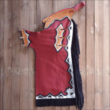 Western Black And Maroon Barrel Rodeo Leather Softy Chaps With Matching Fringes By Aledo Saddlery