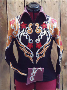 Women Black Western Barrel Racing Rodeo Shirt By Aledo Saddlery