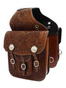 Western Brown Hand Tooled and Carved Saddle Bag with Conchos By Aledo Saddlery