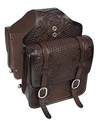 Western Dark Brown Hand Tooled and Carved Saddle Bag  By Aledo Saddlery