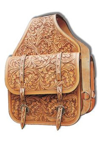 Western natural Hand Tooled and Carved Saddle Bag  By Aledo Saddlery