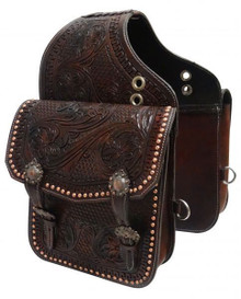 Western Dark Brown Color Leather Hand Tooled & Carved Western Saddle Bag  By Aledo Saddlery