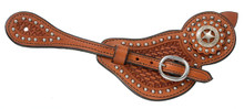 Western Natural Leather set of Spur Strap with Star Conchos By Aledo Saddlery