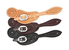Western Leather set of Spur Strap Hand Carving By Aledo Saddlery