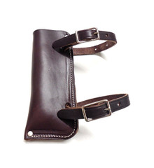 Western Dark Brown Leather Flag Holder By Aledo Saddlery