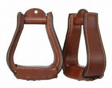 Western Mahagony Leather Hand Carved 2.5 Wide Stirrups By Aledo Saddlery