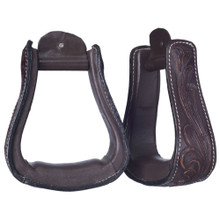 Western Dark Brown Leather Hand Carved 2.5 Wide Stirrups By Aledo Saddlery