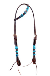 Western Dark Oil One Ear Rawhide Braided Headstall By Aledo Saddlery