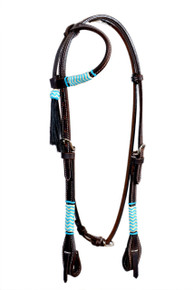 Western Dark Oil Rawhide Braided Headstall with Black Tassel By Aledo Saddlery