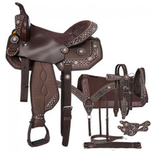 Western Brown Leather & Synthetic Saddle with Set of 7 Accesories By Aledo Saddlery