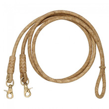Western Natural Rawhide Braided  Roping Reins with Trigger Snap By Aledo Saddlery