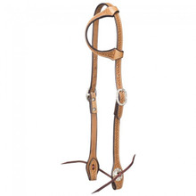 Western Natural Leather Hand Basket Tooled One Ear Headstall By Aledo Saddlery