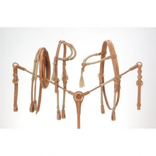 Western Natural leather Set Of 2 Headstall ,Breast Collar & Leather  Reins Rawhide BraidedBy Aledo Saddlery