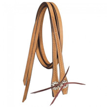 Western Natural Leather Hand Basket Tooled Reins By Aledo Saddlery