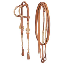 Western Natural Leather Rawhide Braided Headstall & matching Leather Reins with Black Tassel  By Aledo Saddlery