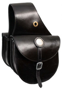 Western Black Leather  Saddle Bag With Leather Straps By Aledo Saddlery