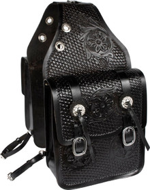 Western Black Leather Hand Carved and Tooled Saddle Bag By Aledo Saddlery