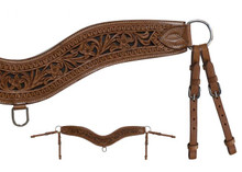 Western Brown  LeatherShaped Leather Steering  Breast Collar  with Black Inlay By Aledo Saddlery
