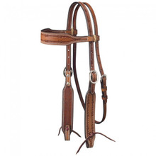 Western Brown Browband Style Barbed Wire Tooled Headstall By Aledo Saddlery