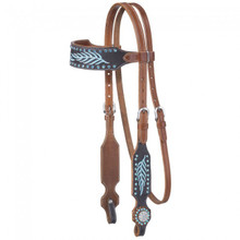 Western Natural Leather Set of Embroidery Headstall and Breast Collar By Aledo Saddlery
