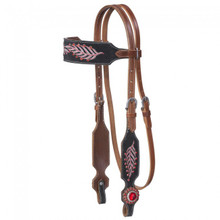 Western Natural Leather Set of  Red Embroidery Headstall and Breast Collar By Aledo Saddlery