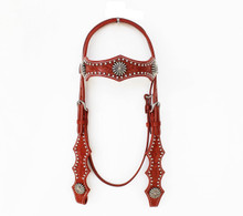 Western Tan Leather Hand Carved Silver Spot Studded Headstall By Aledo Saddlery