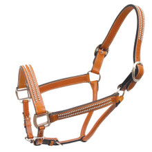 Western Tan Leather  Silver Dots Studded Halter By Aledo Saddlery