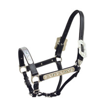 Western Black Leather Silver Engraved Hardware  Halter with Lead Chain By Aledo Saddlery