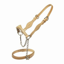 Western Natural Double Leather  Halter with Lead Chain By Aledo Saddlery