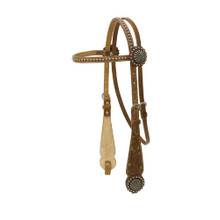 Western Natural Leather Hand Carved Silver Spot Studded Headstall By Aledo Saddlery