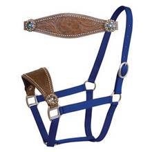 Western Dark Brown Leather Hand Tooled and Carved Bronc Halter By Aledo Saddlery