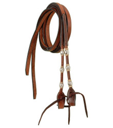 Western Natural Leather Rolled With Silver Ferrel Reins  By Aledo Saddlery