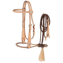 Western Natural Leather Hand Carved Headstall with Bosal and Nylon Reins By Aledo Saddlery