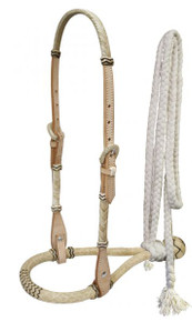 Western Natural Leather Hand Carved Headstall with Bosal & Nylon Reins By Aledo Saddlery
